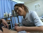 Incredible Hot Asian Nurse Sucks and Jerks Her Patient